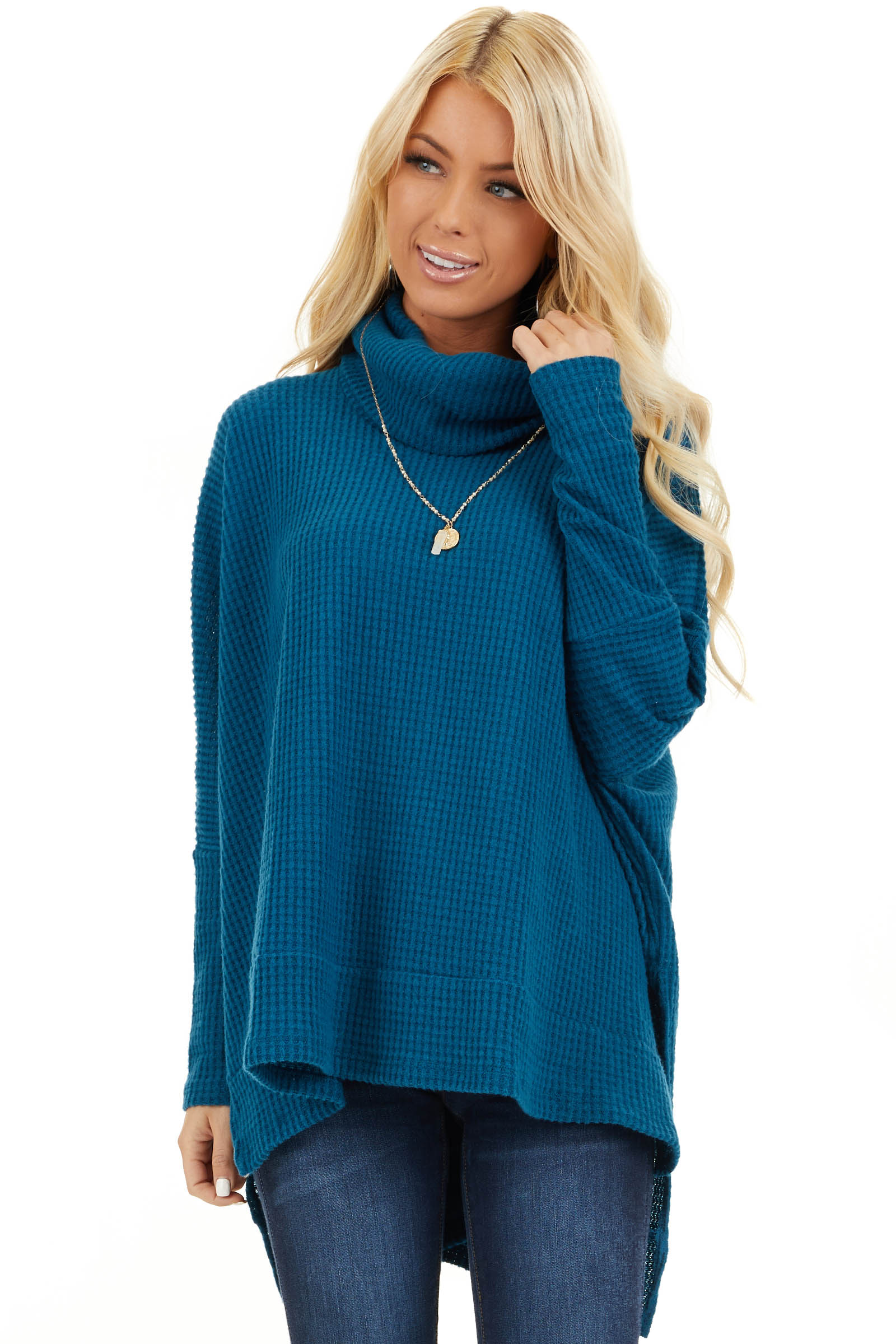 Dark Teal Waffle Knit Top with Cowl Neckline front close up