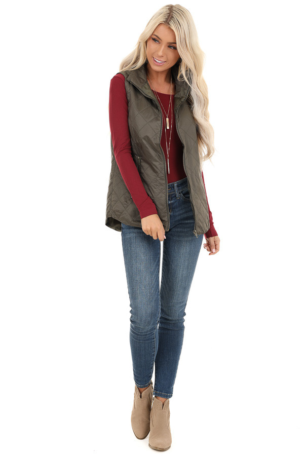 Olive Green Lightweight Soft Collared Puffer Vest front full body