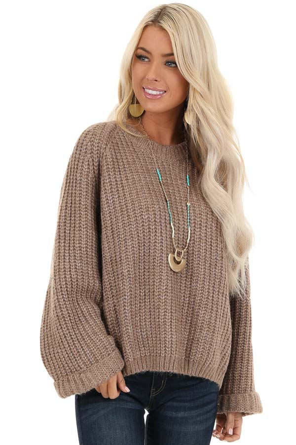 Mocha Long Sleeve Loose Fit Knit Sweater front close up