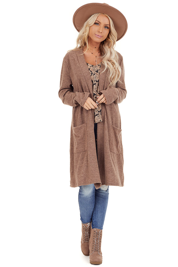 Light Brown Open Front Cardigan with Pocket Details front full body