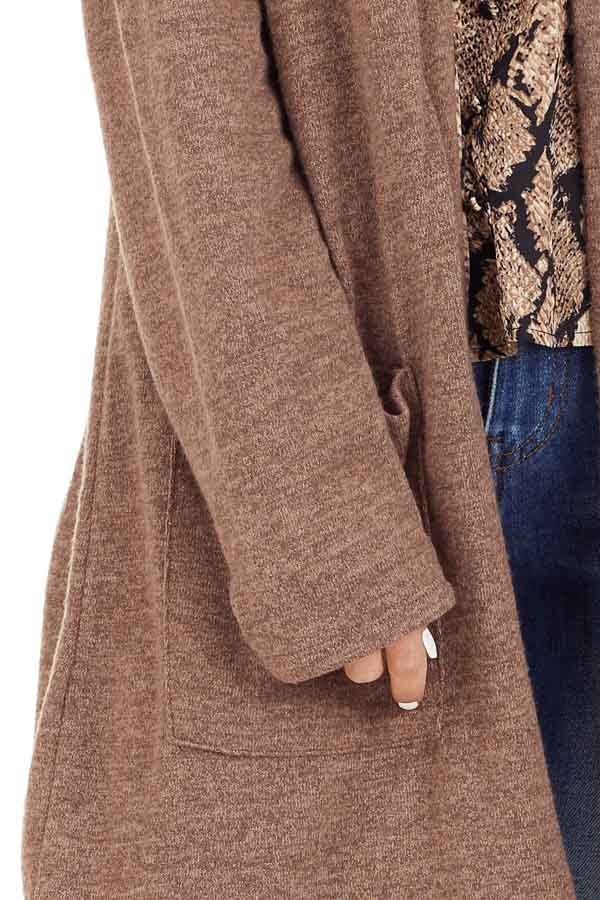 Light Brown Open Front Cardigan with Pocket Details detail