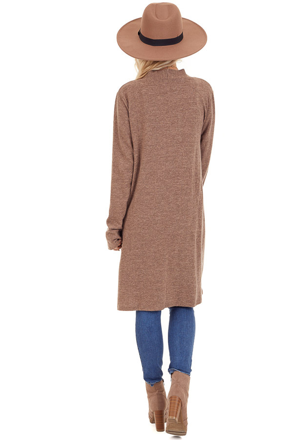 Light Brown Open Front Cardigan with Pocket Details back full body