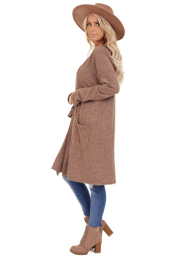Light Brown Open Front Cardigan with Pocket Details side full body