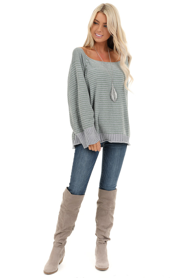 Jade and Grey Striped Long Sleeve Chenille Sweater front full body