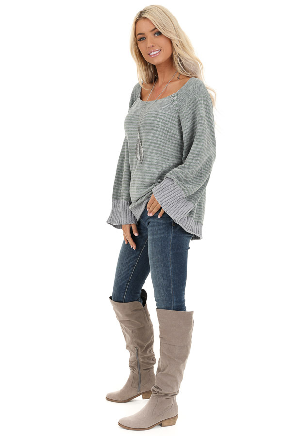 Jade and Grey Striped Long Sleeve Chenille Sweater side full body