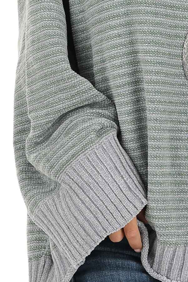 Jade and Grey Striped Long Sleeve Chenille Sweater detail