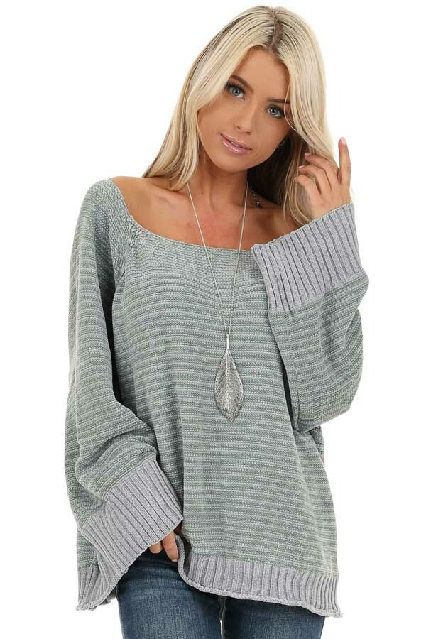 Jade and Grey Striped Long Sleeve Chenille Sweater front close up