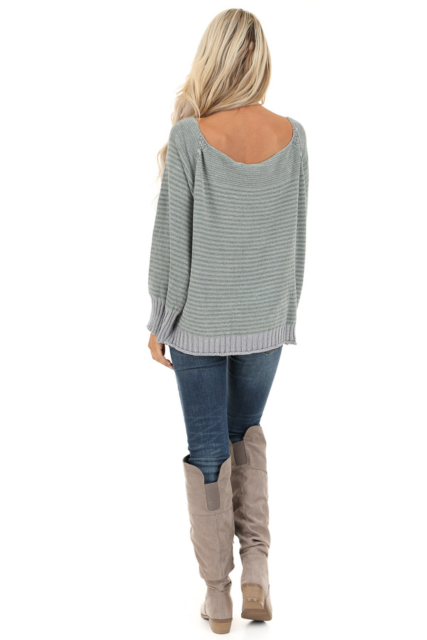 Jade and Grey Striped Long Sleeve Chenille Sweater back full body