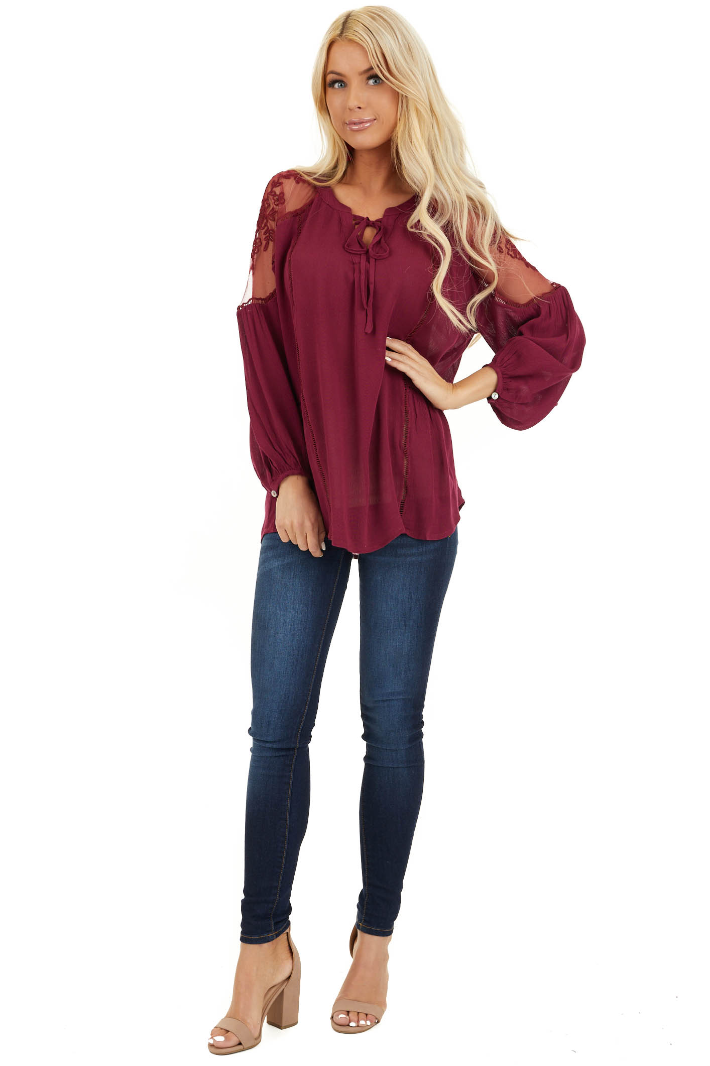 Burgundy Long Sleeve Top with Crochet Sheer Detail front full body