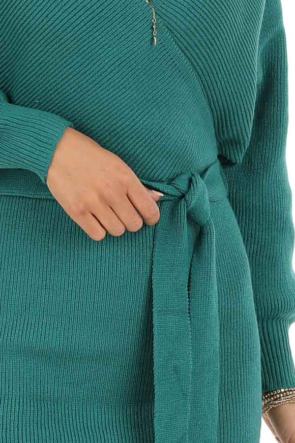 Teal Long Sleeve Surplice Sweater Dress with Cutout Detail detail