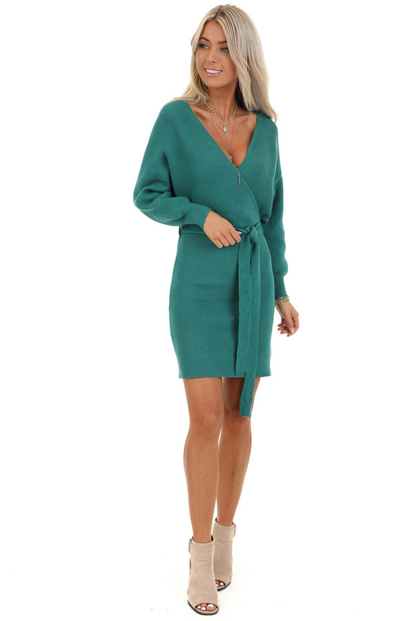 Teal Long Sleeve Surplice Sweater Dress with Cutout Detail front full body