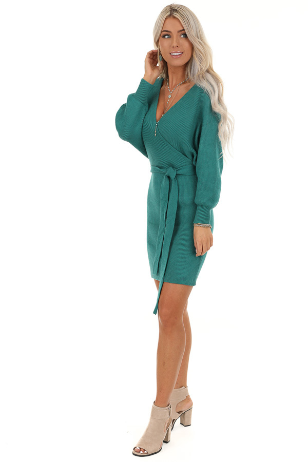 Teal Long Sleeve Surplice Sweater Dress with Cutout Detail side full body