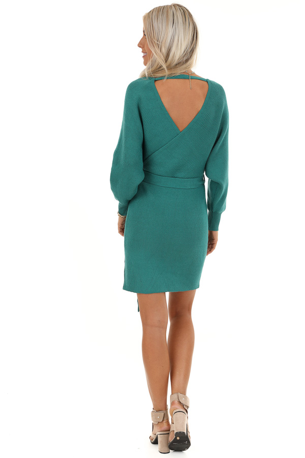 Teal Long Sleeve Surplice Sweater Dress with Cutout Detail back full body