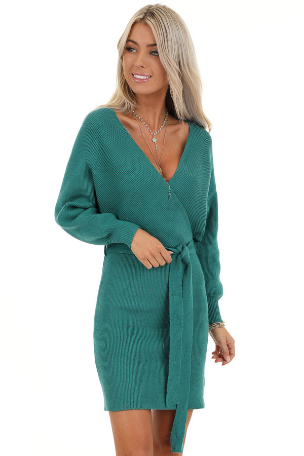 Teal Long Sleeve Surplice Sweater Dress with Cutout Detail front close up