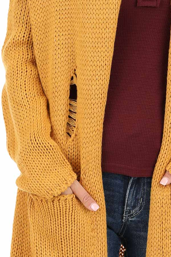 Mustard Soft Knit Cardigan with Distressed Details detail