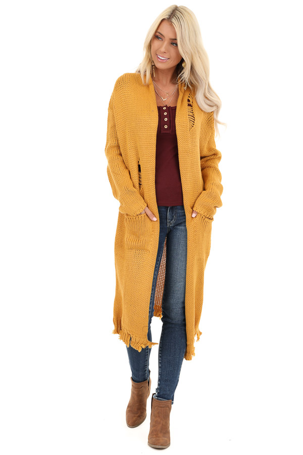 Mustard Soft Knit Cardigan with Distressed Details front full body