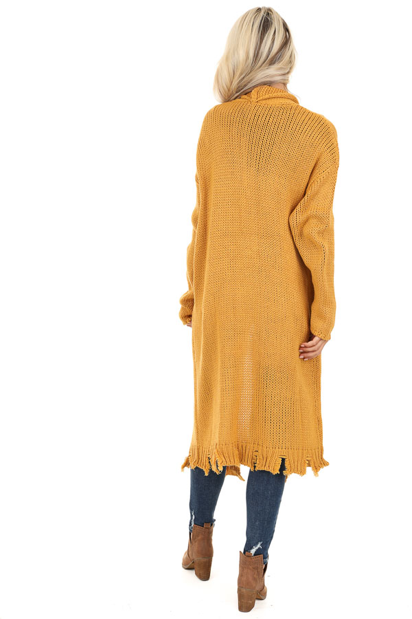 Mustard Soft Knit Cardigan with Distressed Details back full body