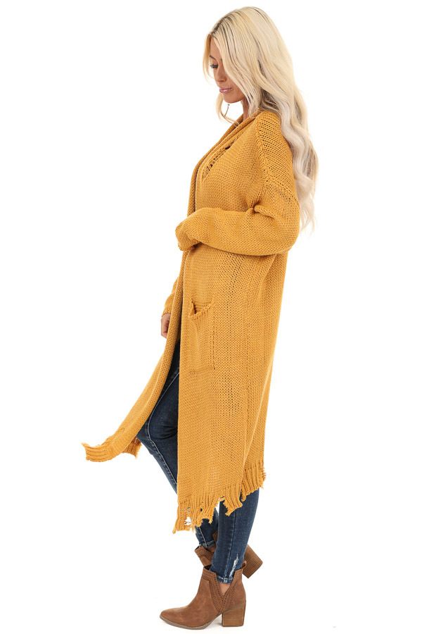 Mustard Soft Knit Cardigan with Distressed Details side full body