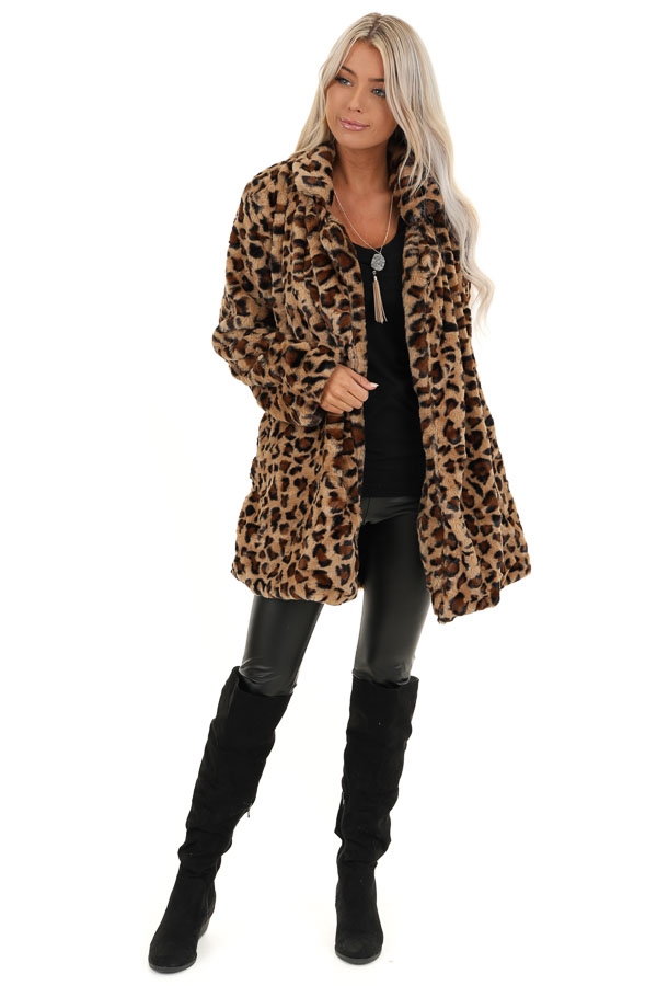 Mocha Leopard Print Fluffy Coat with Collar Detail front full body