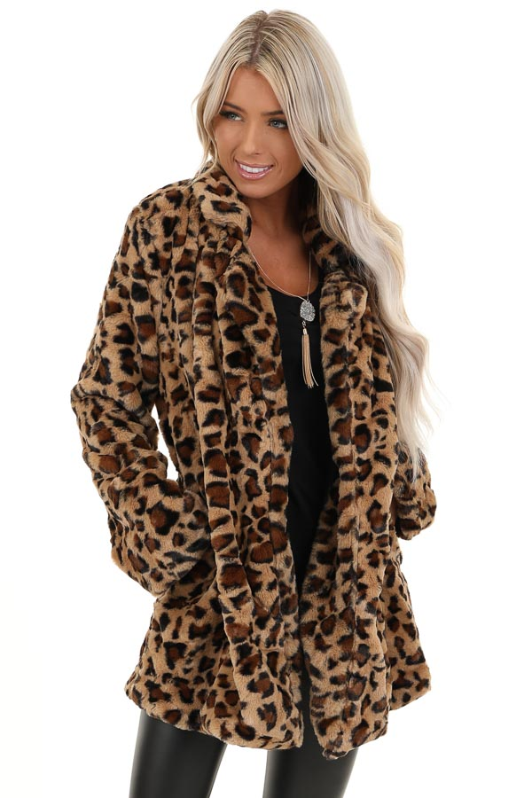 Mocha Leopard Print Fluffy Coat with Collar Detail front close up