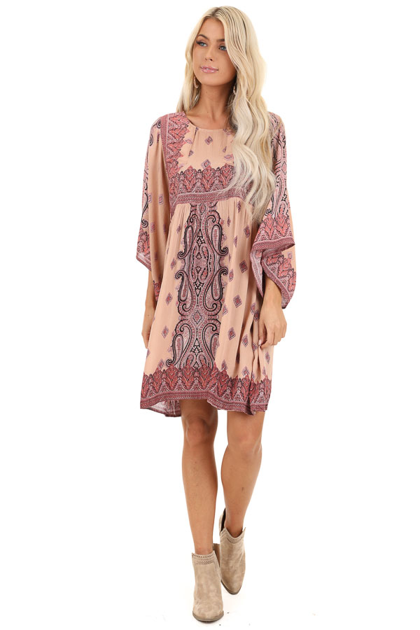 Blush and Mauve Paisley Print 3/4 Sleeve Peasant Mini Dress front full body