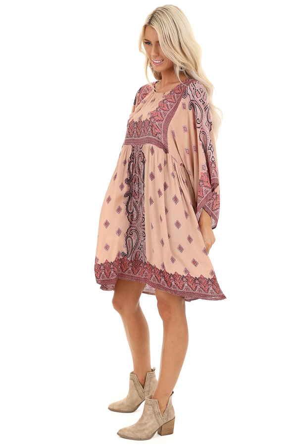 Blush and Mauve Paisley Print 3/4 Sleeve Peasant Mini Dress side full body