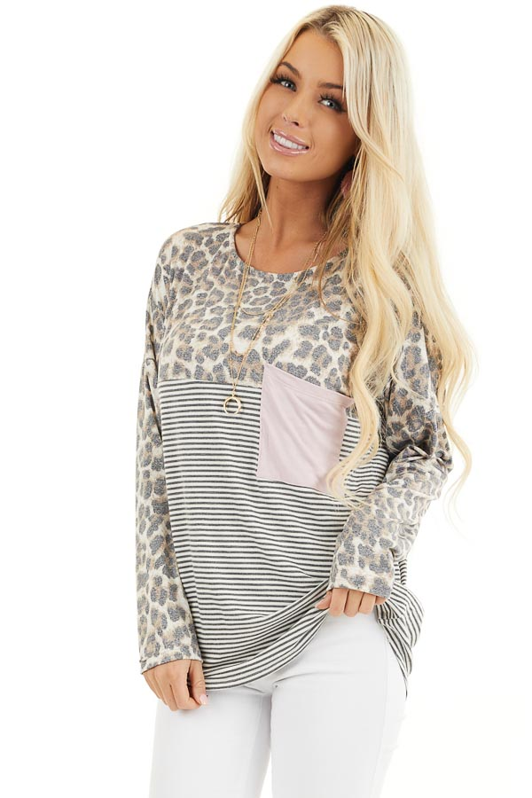 Leopard and Striped Color Block Long Sleeve Tee with Pocket front close up
