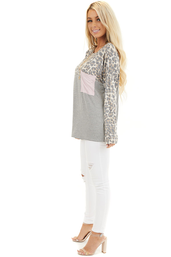 Leopard and Striped Color Block Long Sleeve Tee with Pocket side full body