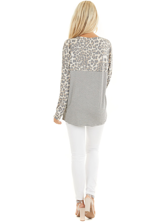 Leopard and Striped Color Block Long Sleeve Tee with Pocket back full body
