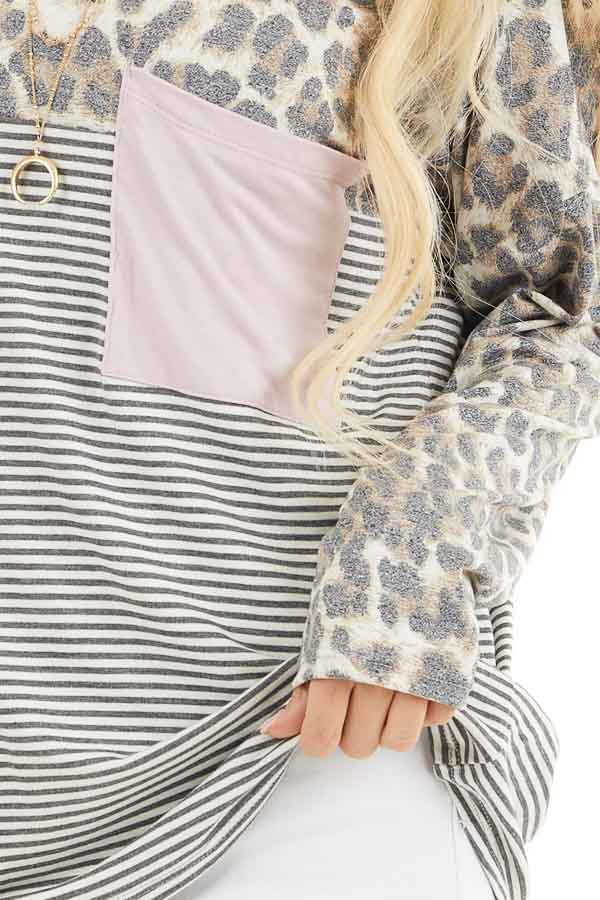 Leopard and Striped Color Block Long Sleeve Tee with Pocket detail