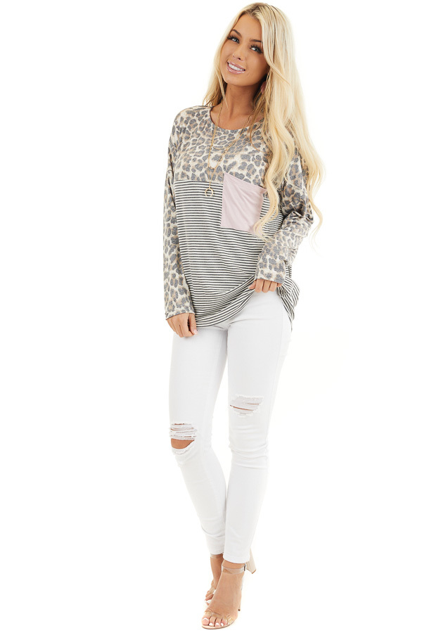 Leopard and Striped Color Block Long Sleeve Tee with Pocket front full body