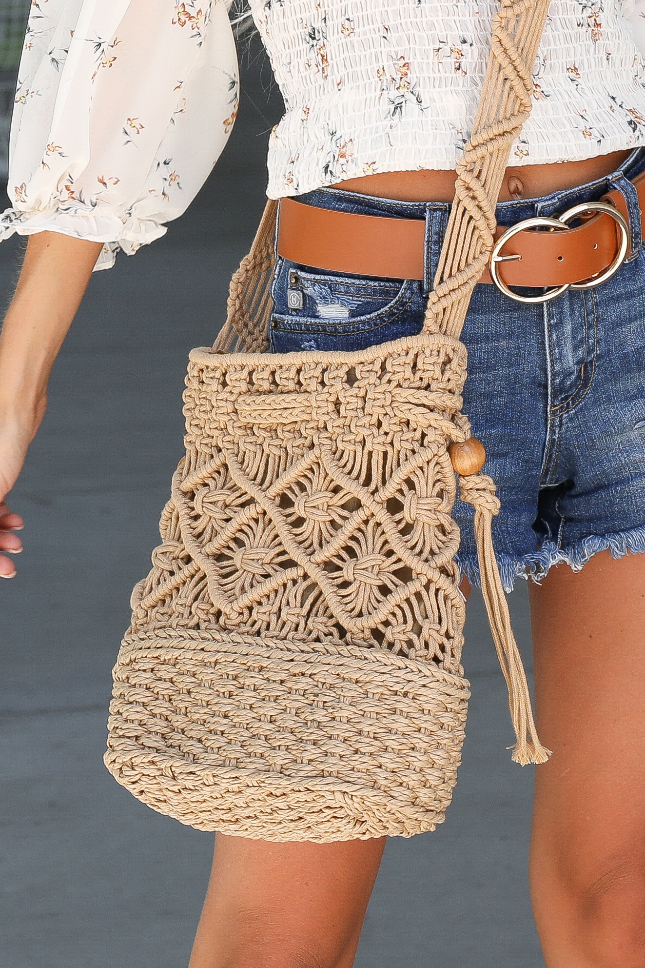 Tan Crocheted Over the Shoulder Bag with Wooden Bead Details