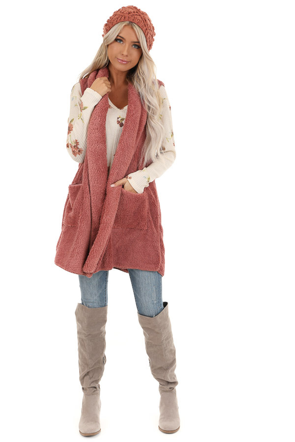 Rose Pink Faux Fur Vest with Pockets front full body