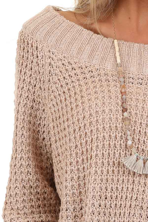 Taupe Long Sleeve Knit Top with Ribbed Neckline detail
