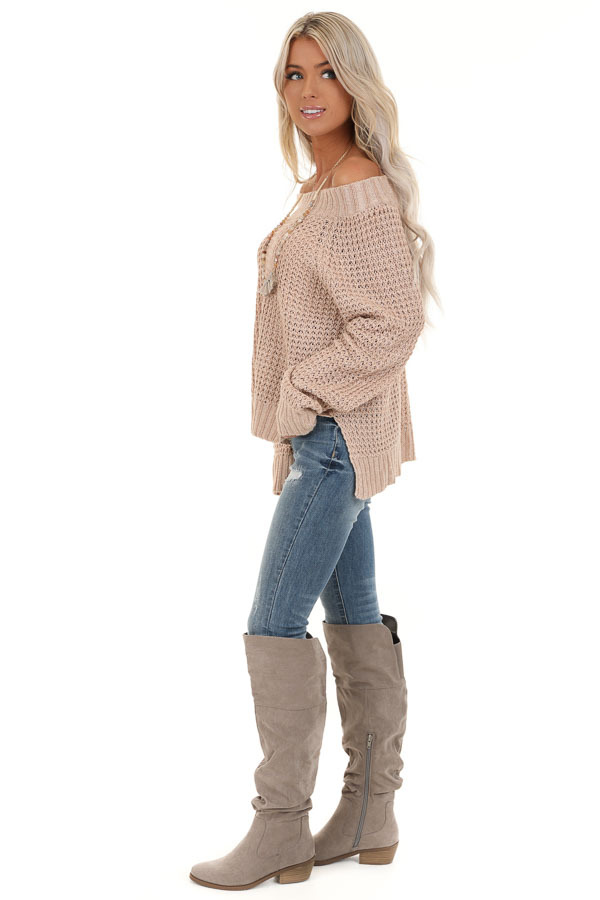 Taupe Long Sleeve Knit Top with Ribbed Neckline side full body