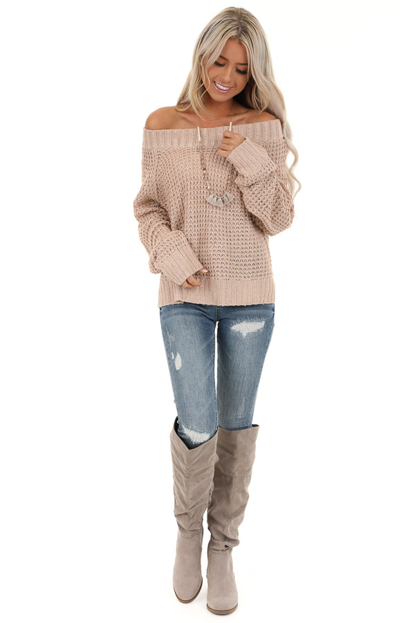 Taupe Long Sleeve Knit Top with Ribbed Neckline front full body