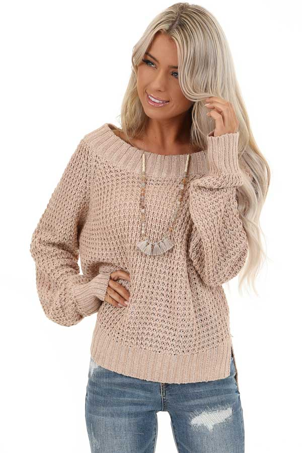 Taupe Long Sleeve Knit Top with Ribbed Neckline front close up