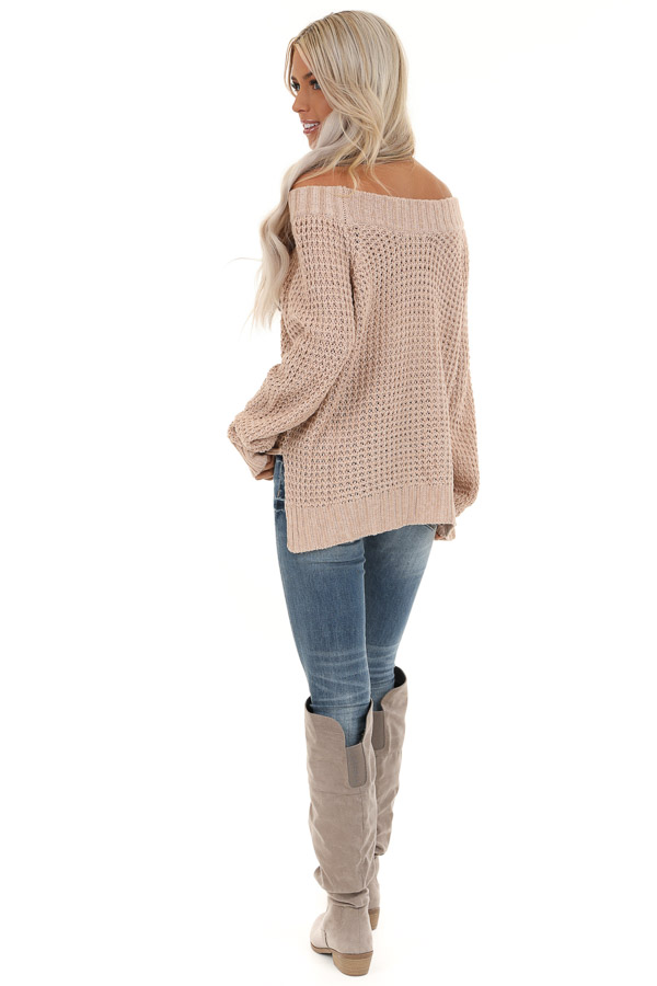 Taupe Long Sleeve Knit Top with Ribbed Neckline back full body