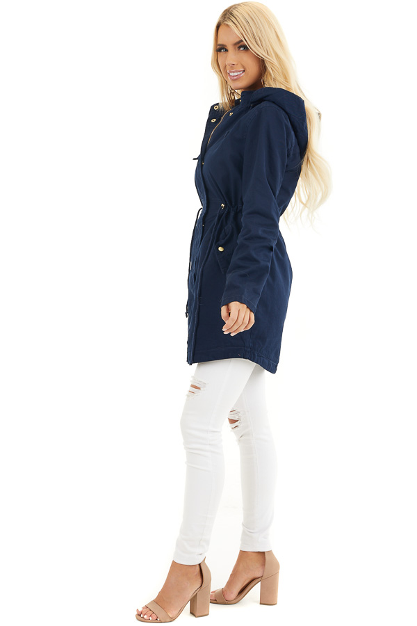 Navy Hooded Coat with Cinch Waist and Gold Details side full body