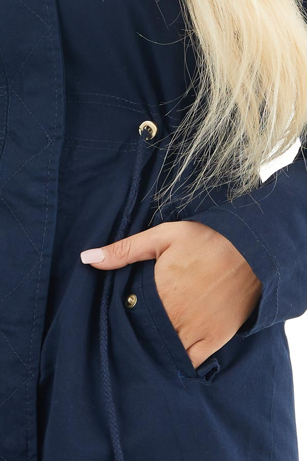 Navy Hooded Coat with Cinch Waist and Gold Details detail
