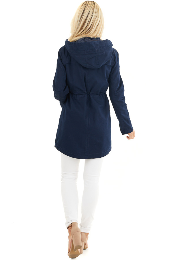 Navy Hooded Coat with Cinch Waist and Gold Details back full body