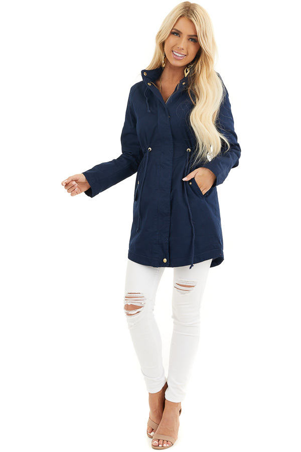 Navy Hooded Coat with Cinch Waist and Gold Details front full body