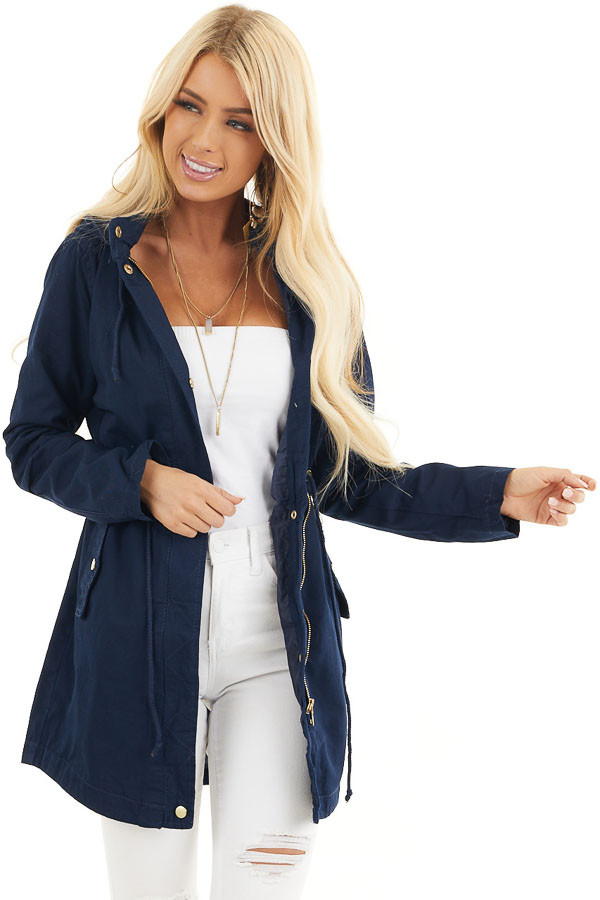 Navy Hooded Coat with Cinch Waist and Gold Details front close up