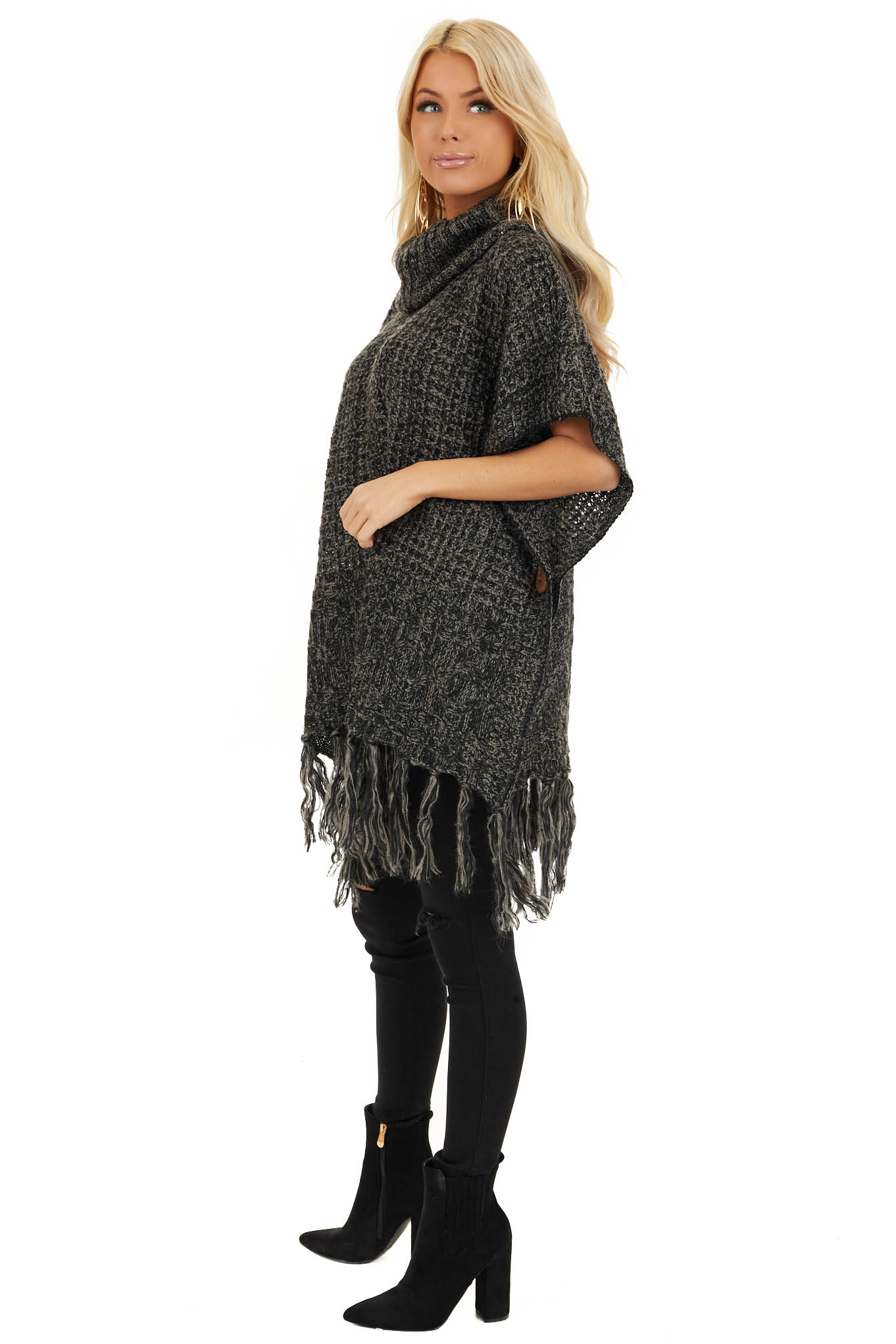 Charcoal Two Tone Cowl Neck Poncho Top with Button Details side full body
