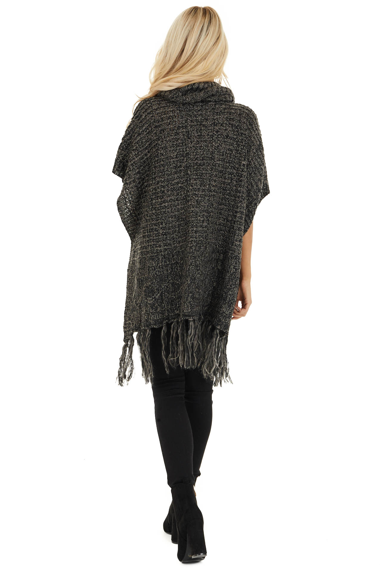 Charcoal Two Tone Cowl Neck Poncho Top with Button Details back full body