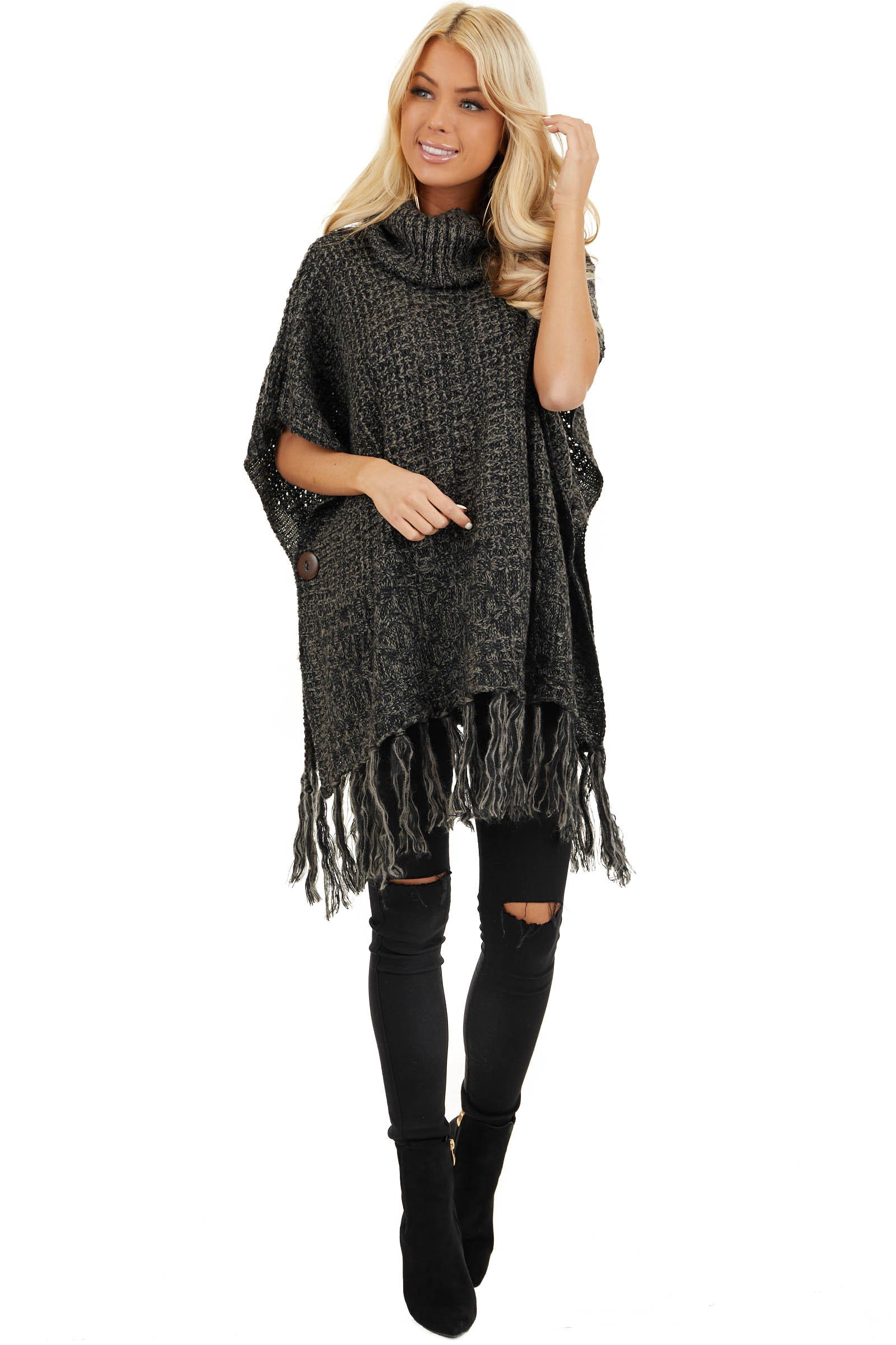Charcoal Two Tone Cowl Neck Poncho Top with Button Details front full body