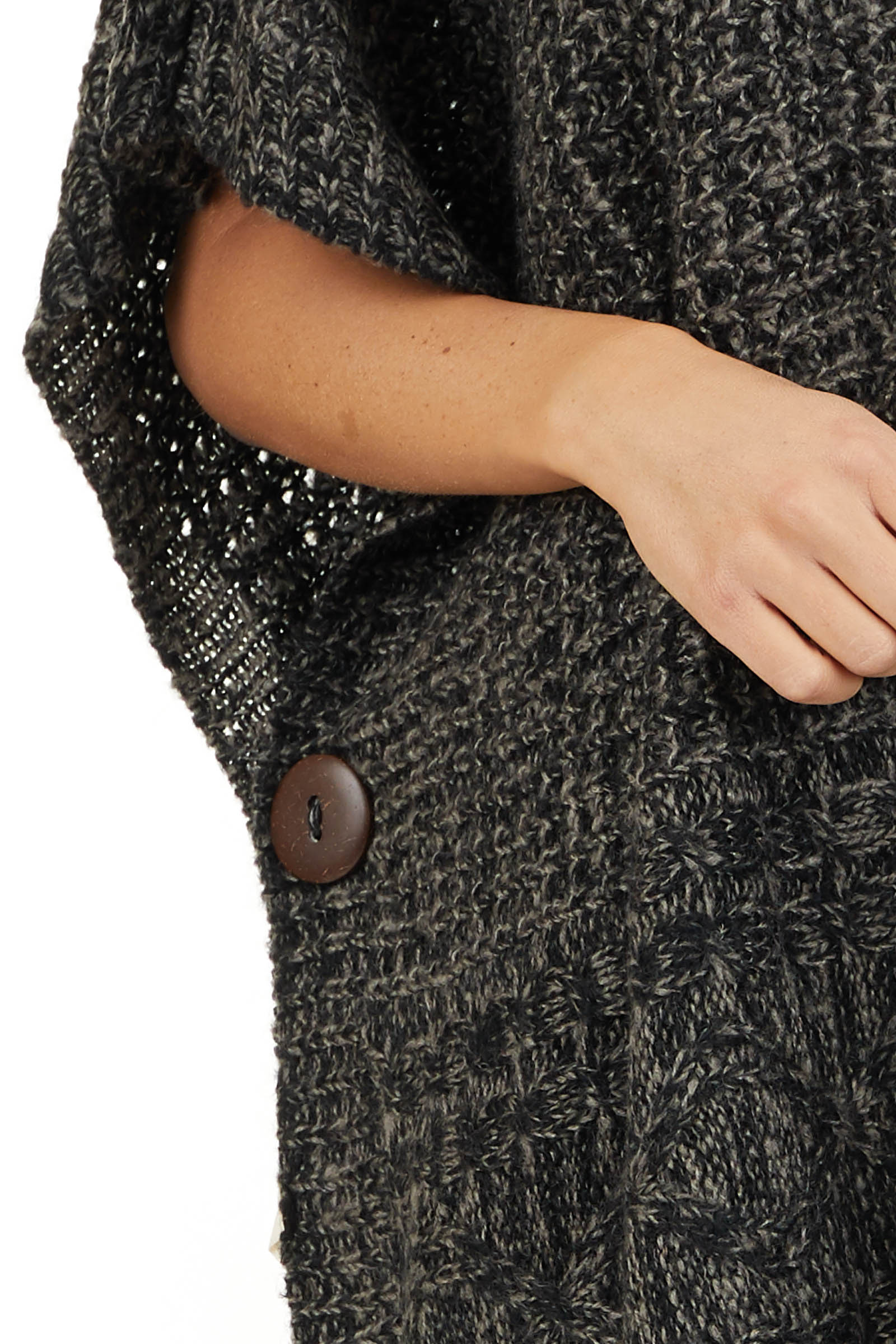 Charcoal Two Tone Cowl Neck Poncho Top with Button Details detail