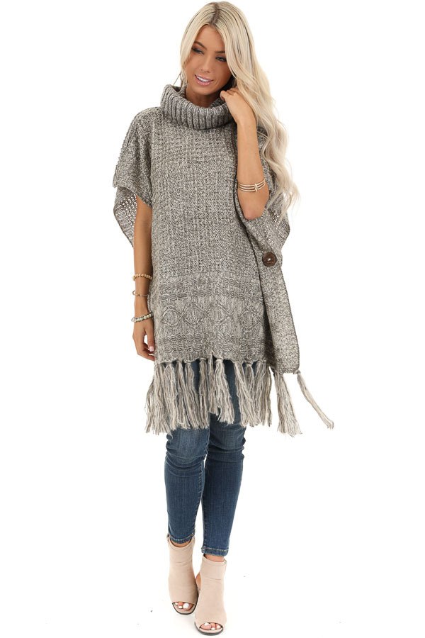 Soft Grey and Ivory Cowl Neck Poncho Top with Button Details front full body