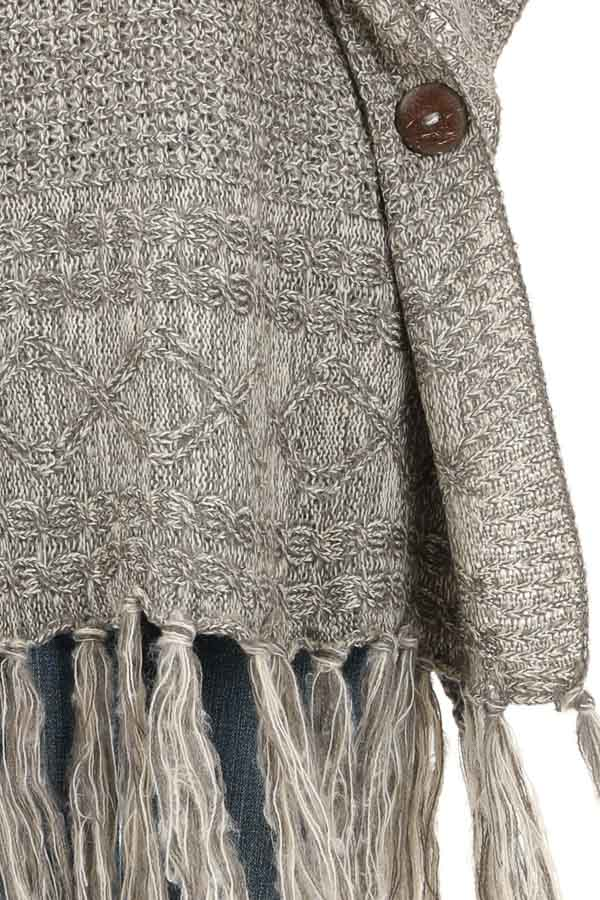 Soft Grey and Ivory Cowl Neck Poncho Top with Button Details detail