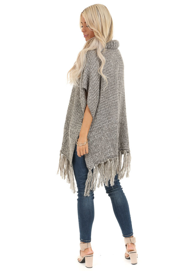 Soft Grey and Ivory Cowl Neck Poncho Top with Button Details back full body